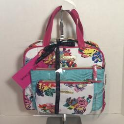 Betsey Johnson 3 Piece Travel Set Cosmetic Suitcase Pink & T