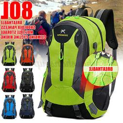 80L Extra Large Hiking Backpack Travel Camping Cycling Outdo