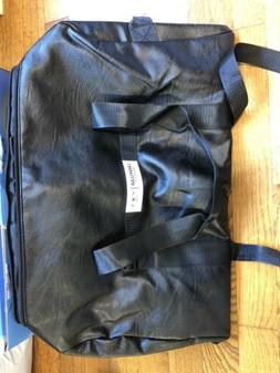 Black Leather Travel Bag With Shoe Compartment For Women/men