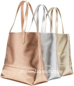 BLOOMINGDALE'S ROSE GOLD Faux Leather Shopping Shopper Shoul