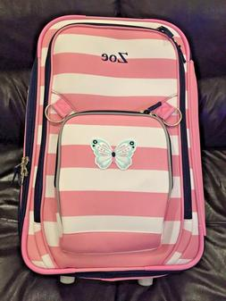 Pottery Barn Kids Fairfax Large Pink Striped Butterfly Suitc
