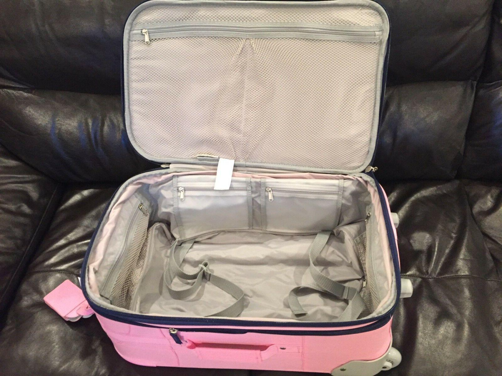 Pottery Large Pink Striped Suitcase