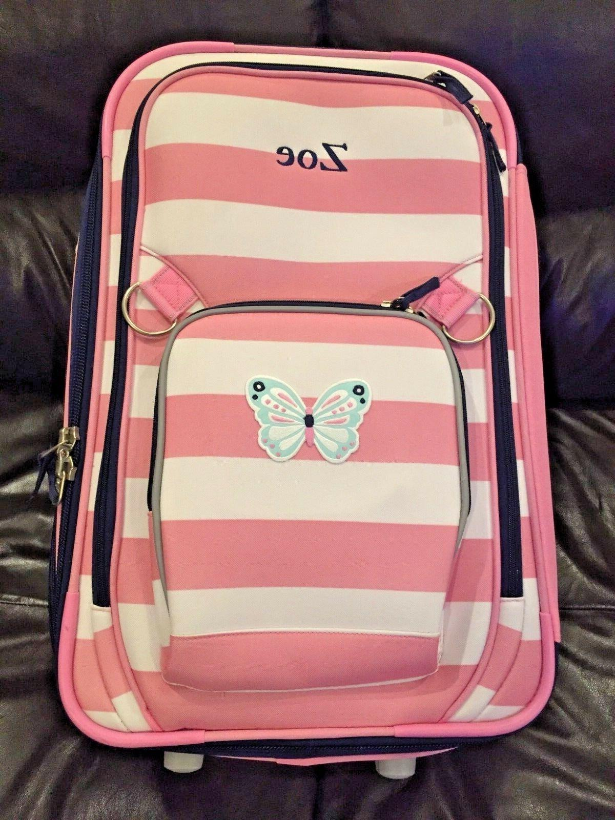 fairfax large pink striped butterfly suitcase luggage