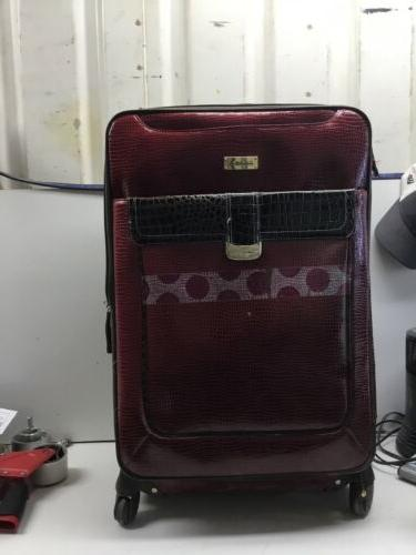 large and small suitcases red crocodile skin