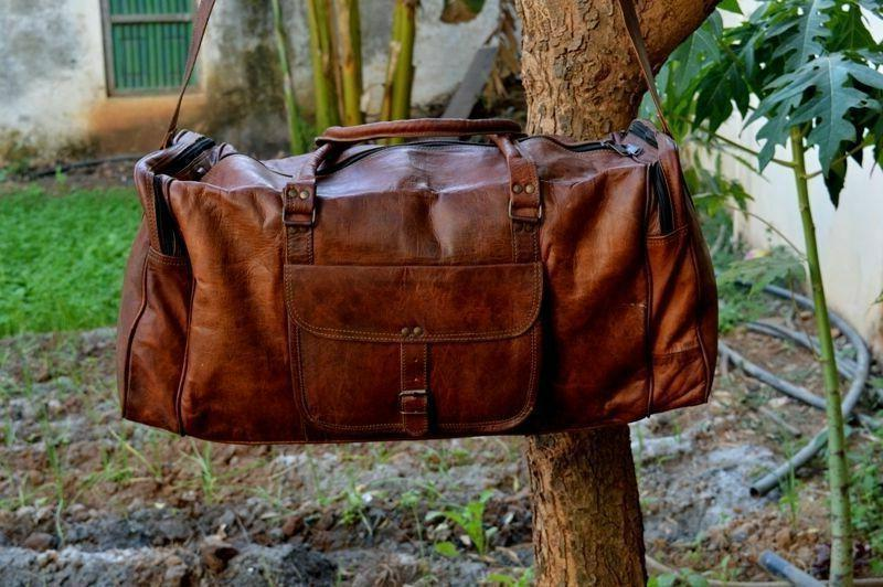 large leather weekend bag mens suitcase leather