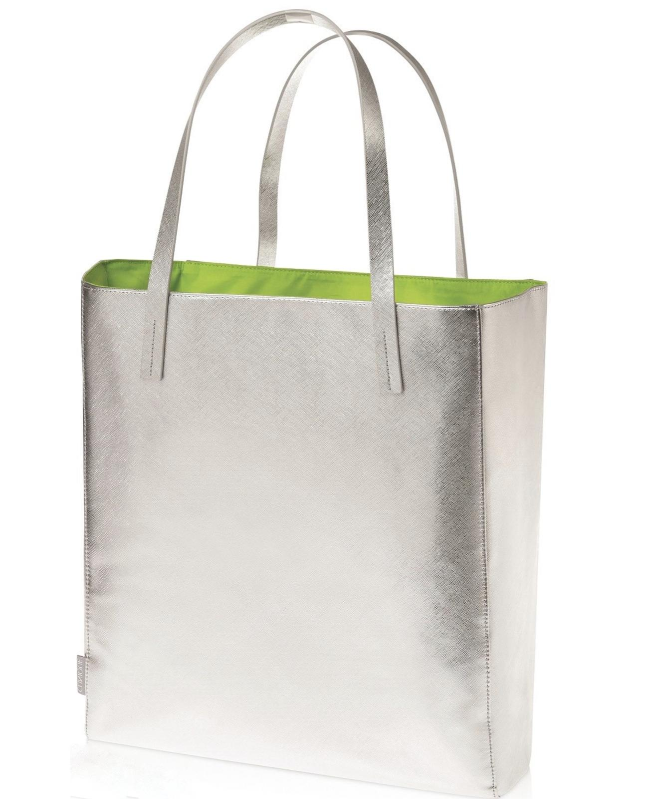 limited edition large silver with green tote