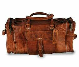 Large leather Weekend Bag Mens Suitcase Leather Travel Bag D
