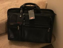 TUMI Large Screen Black Leather Laptop Briefcase- NEW w TAGS