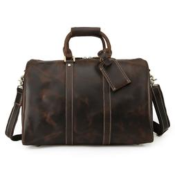 """Men Real Leather Travel Bag 16"""" Laptop Luggage Outdoor Shoul"""