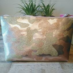 NWT Macbeth Collection Glitter Camo Print Large Cosmetic Bag