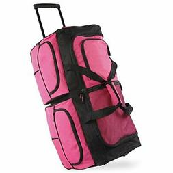 "Pacific Coast Signature 30"" Large Rolling Duffel Bag, Pink,"