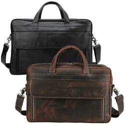 """Real Leather Briefcase For Men Travel Office 17"""" Laptop Week"""