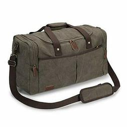 S-ZONE Canvas Duffel Bag Travel Weekend Overnight Bag with S