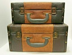 Set Of 2 Brown Faux Crocodile Leather Suitcase Wooden Storag