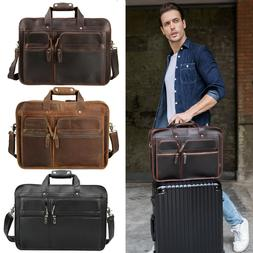 """Top Grain Leather Briefcase for Men Travel Week 17"""" Laptop S"""