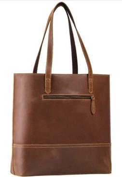 LUCKYSGY Vintage Leather Tote Shoulder Bag, Crazy Horse Leat